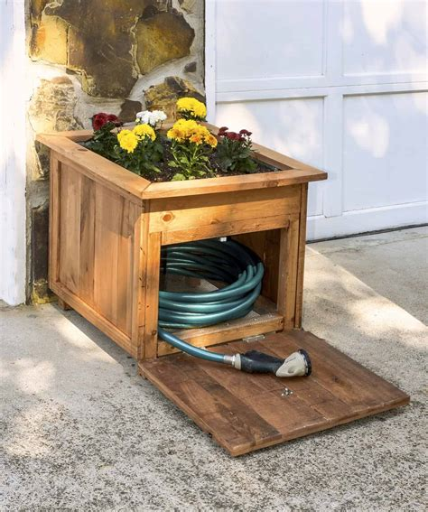 Diy Wood Planter And Hose Holder