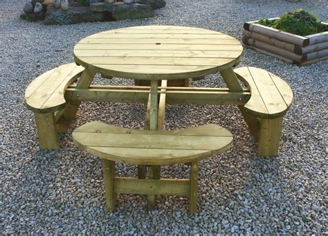 Diy Wood Round Picnic Table With Built In Seating