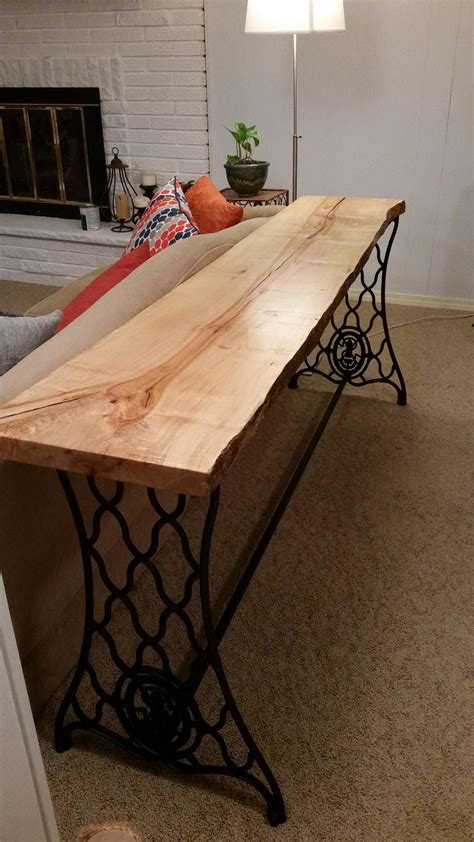 Diy Wood Slab Sewing Machine Base Table
