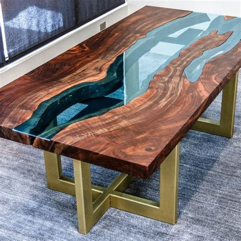 Diy Wood Slab Table With River