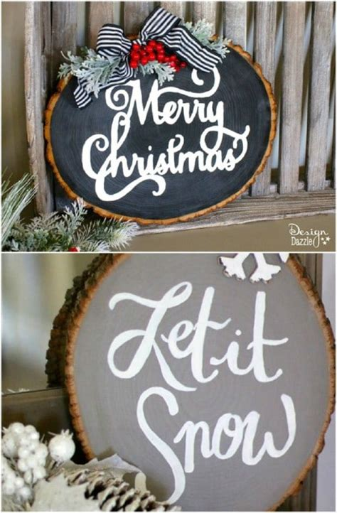Diy Wood Slice Holiday Sign