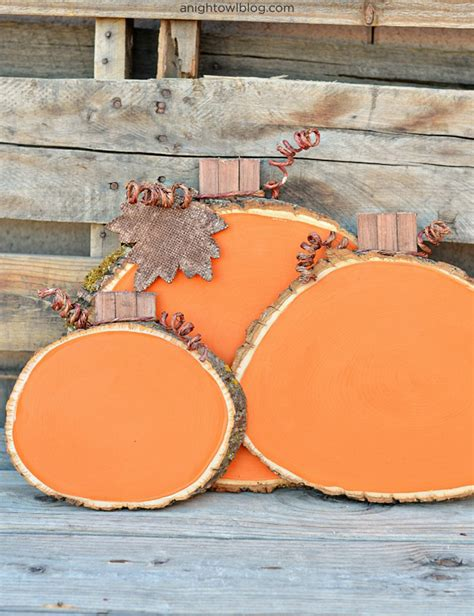 Diy Wood Slice Pumpkins Carved