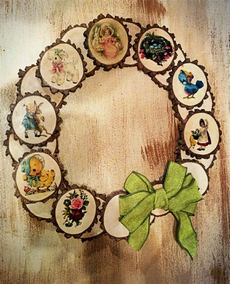 Diy Wood Slice Wreath With Decoupage Furniture