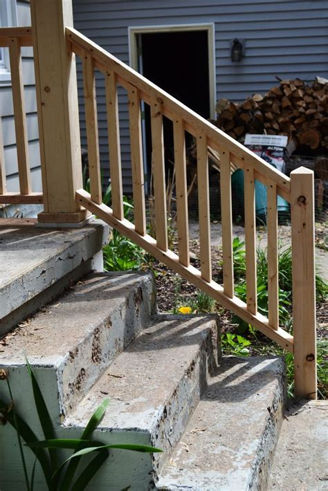Diy Wood Stair Railing On Concrete Stairs