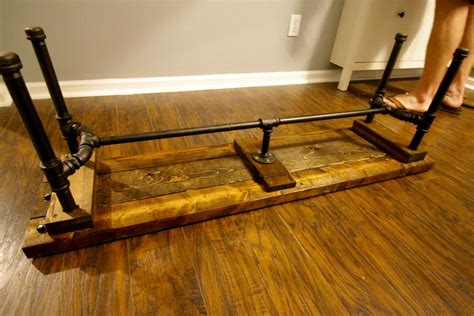 Diy Wood Storage Bench With Plumbing Pipes And Wire Crates