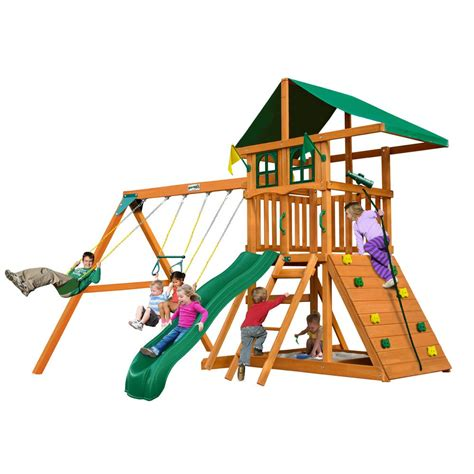Diy Wood Swing Set With Climbing Wall