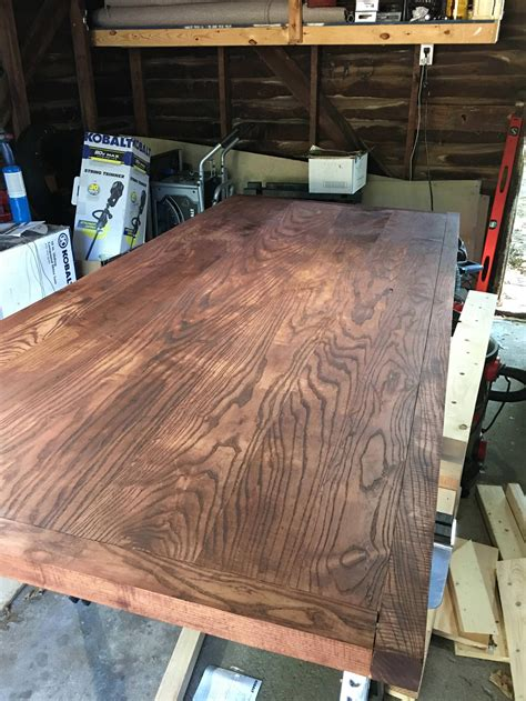 Diy Wood Table Plywood Stained Red