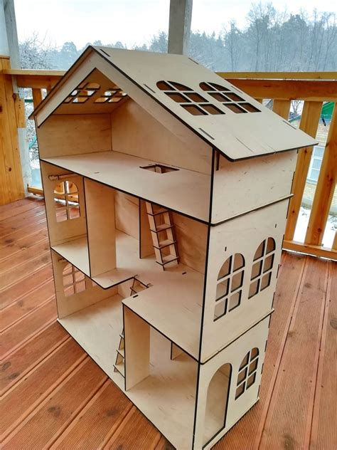 Diy Wooden Dollhouse 3 Floors House With Stairs