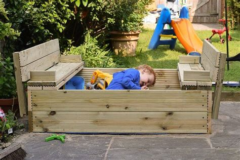 Diy Wooden Sandpit With Lid