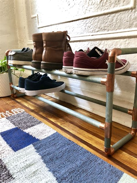 Diy Wooden Shoe Rack With Pipes