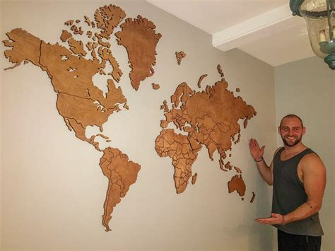 Diy World Map On Wood For Guestbook