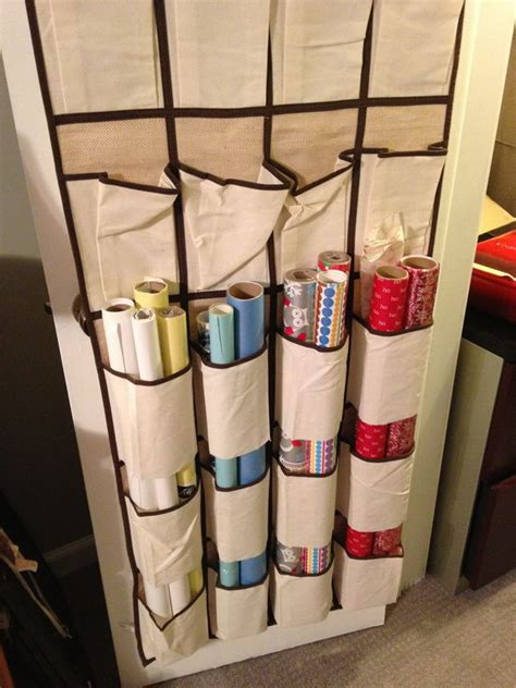 Diy Wrapping Paper Storage With Shoe Bag