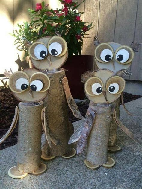 Diy Youtube Owl From Wood Slices With Bark