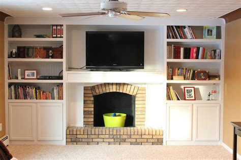 Diy-Built-In-Shelves-Next-To-Fireplace