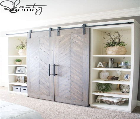 Diy-Built-In-Shelves-With-Sliding-Closet-Doors