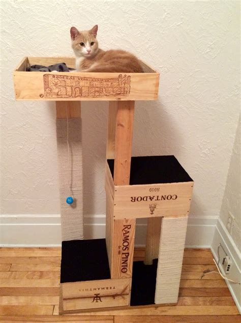 Diy-Cat-Tower-With-Wine-Crate