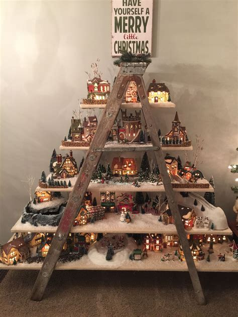 Diy-Christmas-Village-Ladder-Shelf