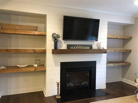 Diy-Floating-Shelves-Around-Fireplace