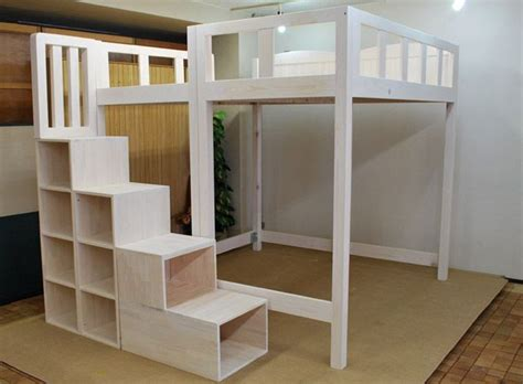 Diy-Full-Size-Loft-Bed-With-Stairs