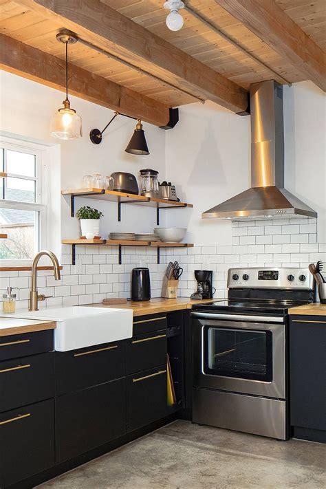 Diy-Kitchen-Ebony-Cabinets-Wood-Countertops