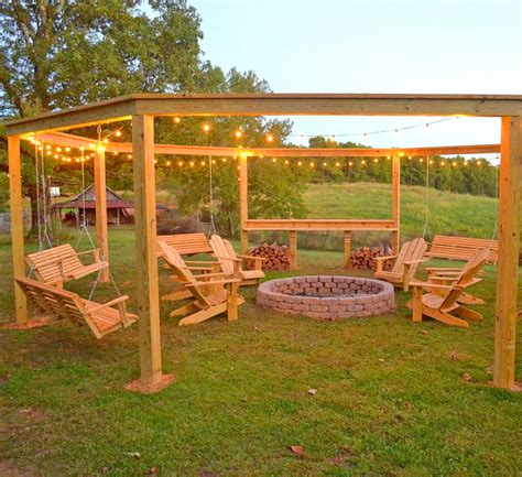 Diy-Pergola-And-Firepit-With-Swings