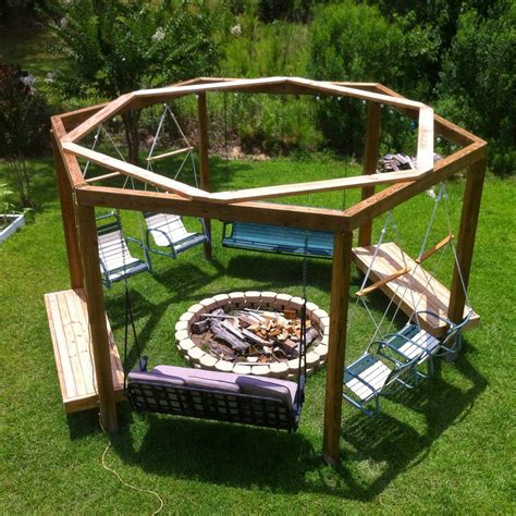Diy-Pergola-Fire-Pit-With-Swings