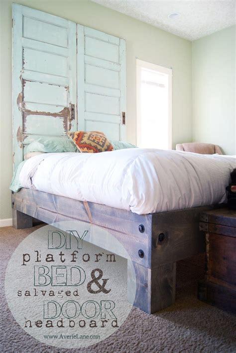 Diy-Platform-Bed-Salvaged-Door-Headboard
