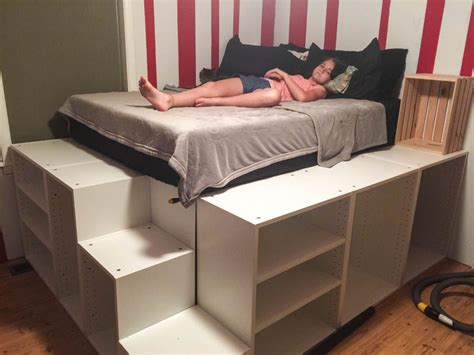 Diy-Platform-Bed-With-Ikea-Cabinets