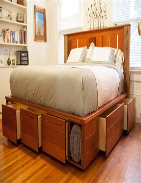 Diy-Platform-Beds-With-Shelf-Underneath