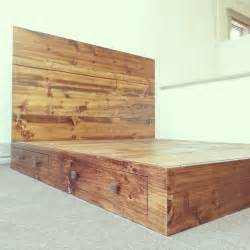 Diy-Rustic-Bed-Frame-With-Storage