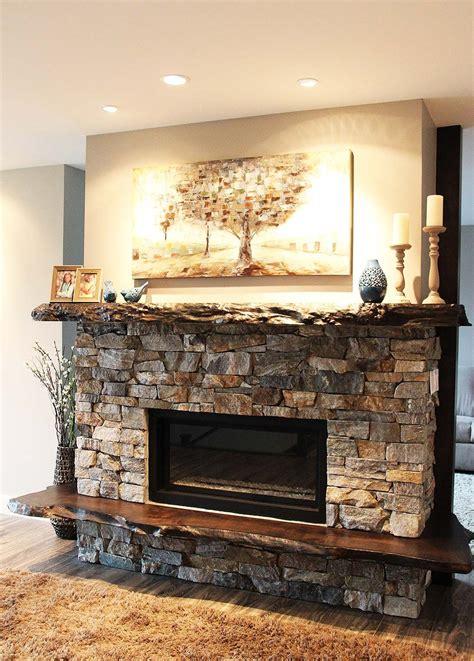 Diy-Wood-Mantel-On-Stone-Fireplace