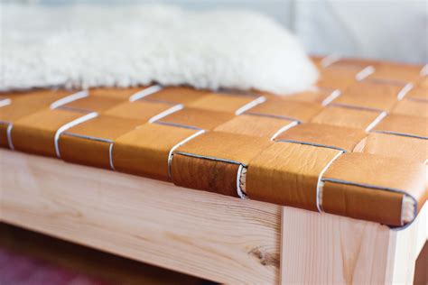 Diy-Woven-Leather-Bench