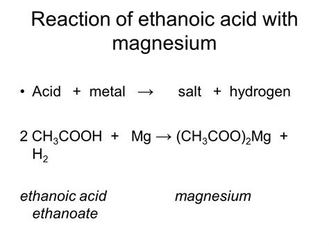 Does Magnesium React With Acetic Acid