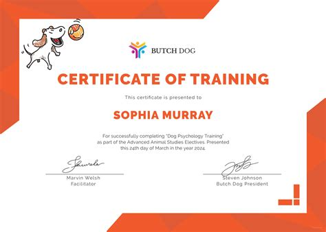 Dog training awards sample Image