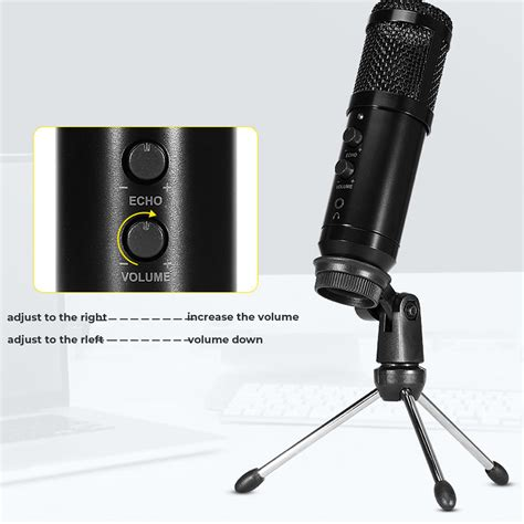 Domybest Microphone Mic Studio Recording Set Black USB Mic 3.5mm with Shock Mount Mini Desktop Tripod Cable