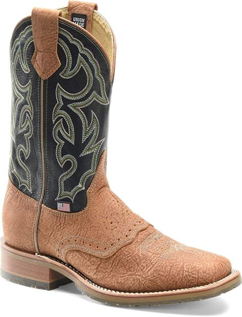 Double H Men's Tan Bison Frida Blue Square Toe Boot DH4632
