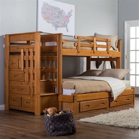 Double-Bunk-Beds-With-Stairs-Plans