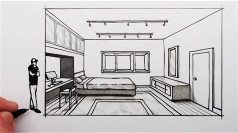 Drawing Of A Bedroom One Point Perspective