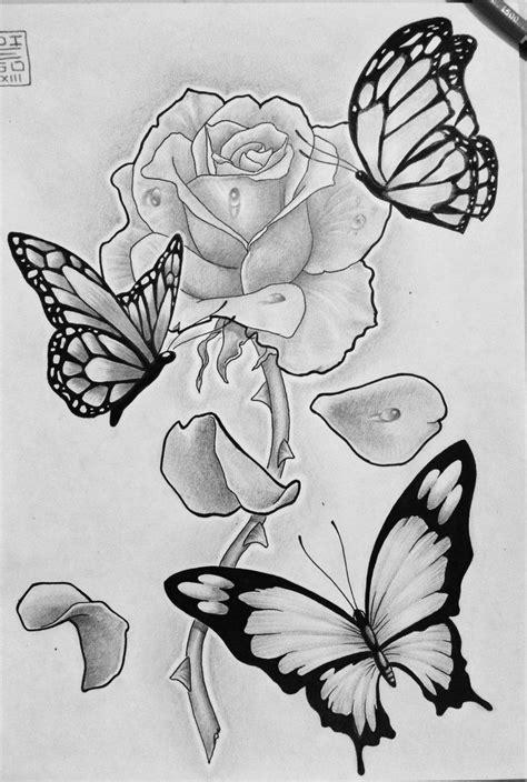 Drawings Roses Butterflies