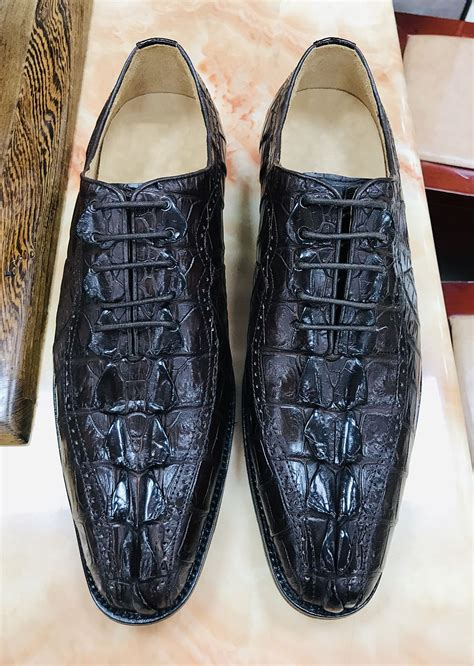 Dress Shoes for Men Alligator Crocodile Print Leather Derby Derby Lace up Casual Oxford Shoes by