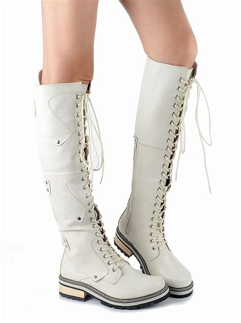 Dressy Winter White Leather Boots