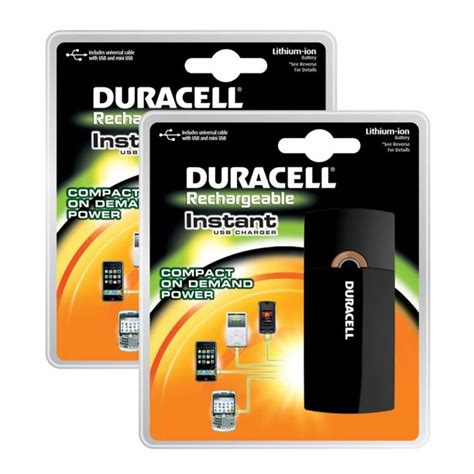 Duracell Rechargeable Instant USB Charger + Universal Cable with USB & mini USB
