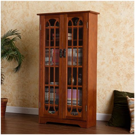 Dvd Storage Cabinet With Doors Cherry