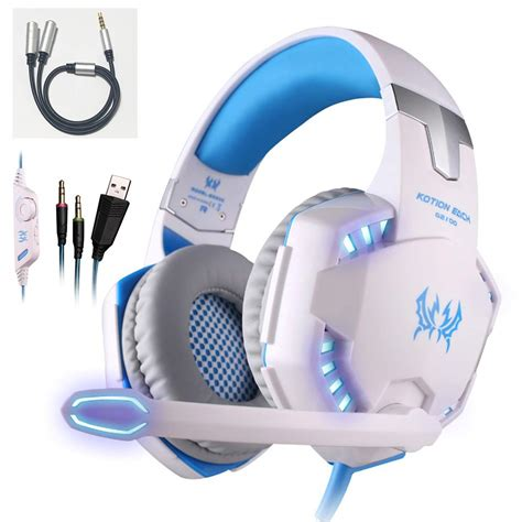 EACH G2100 Vibration Function Professional Gaming Headphone Games Headset with Mic Stereo Bass LED Light for PC Gamer (White)