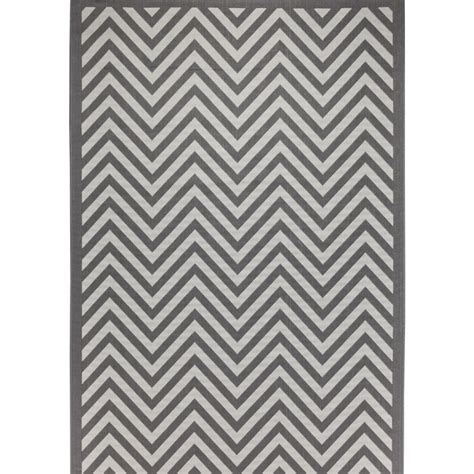 Egremt Chevron Gray Indoor/Outdoor Area Rug