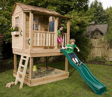 Elevated Playhouse With Slide Plans
