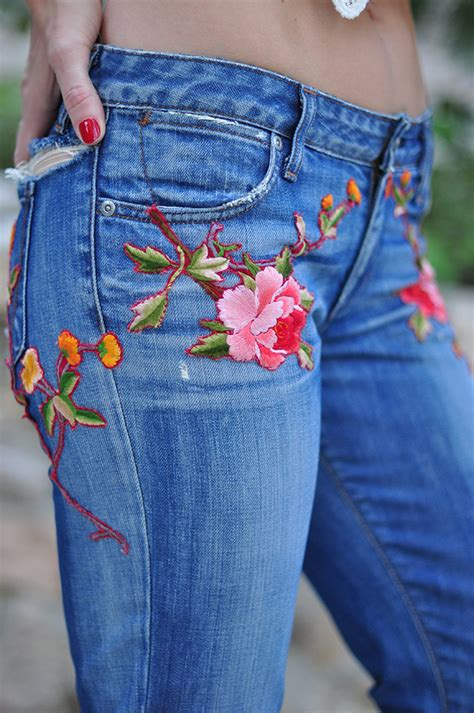 Embroidered Jeans Diy Kilims