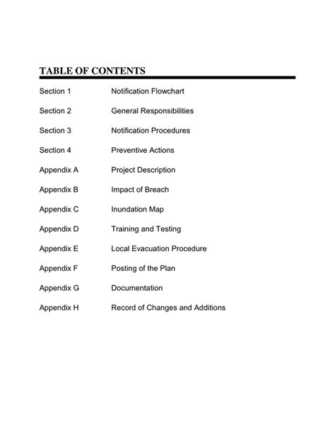 Emergency-Action-Plan-Table-Of-Contents