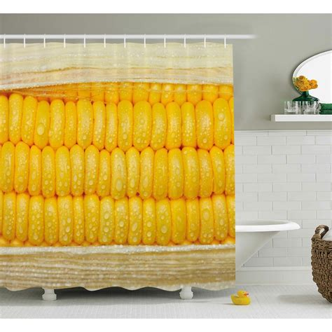 Erin Health Corn Cob Stem With Raindrops Water Marks Mexican Vegetable Photo Artwork Image Shower Curtain