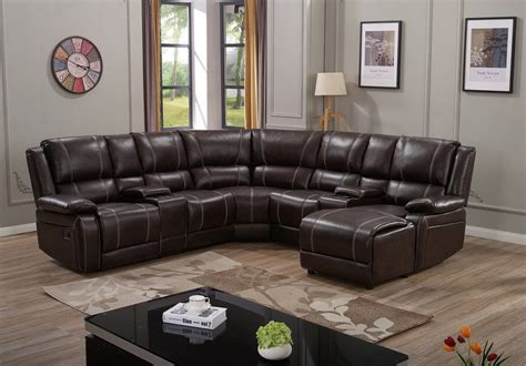 Espresso Leather Reclining Sectional